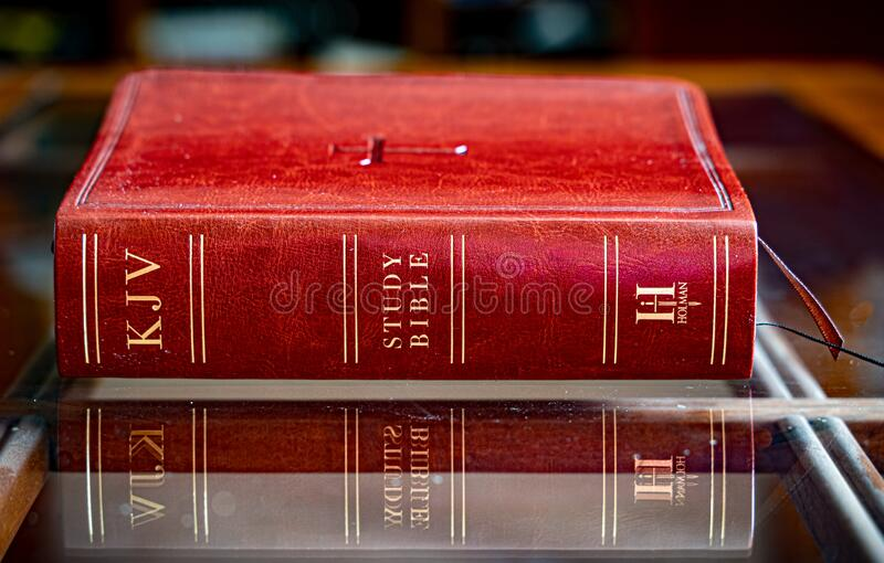 KJV Bible on Coffee Table stock images