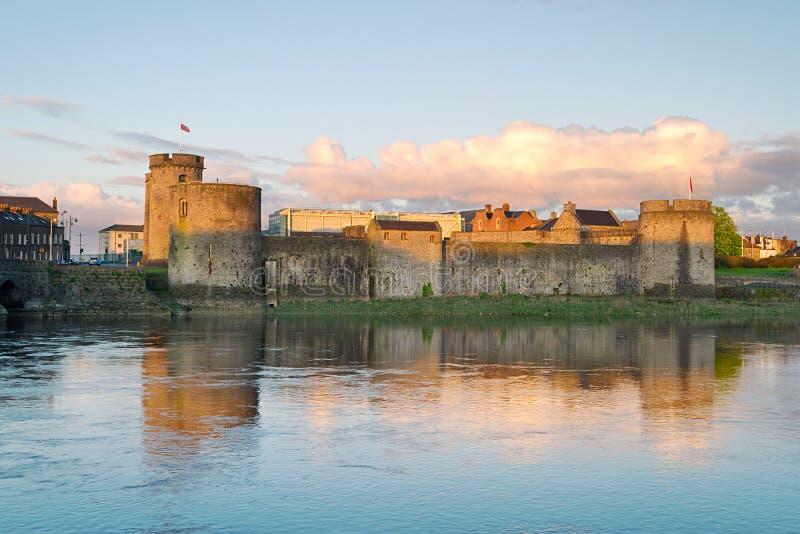 King John Castle at sunset. King John Castle in Limerick, Ireland stock image