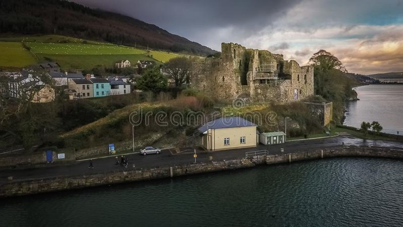 King John`s Castle. Carlingford. county Louth. Ireland. Aerial view of King John`s Castle and Carlingford town, Norman castle. county Louth. Ireland royalty free stock image