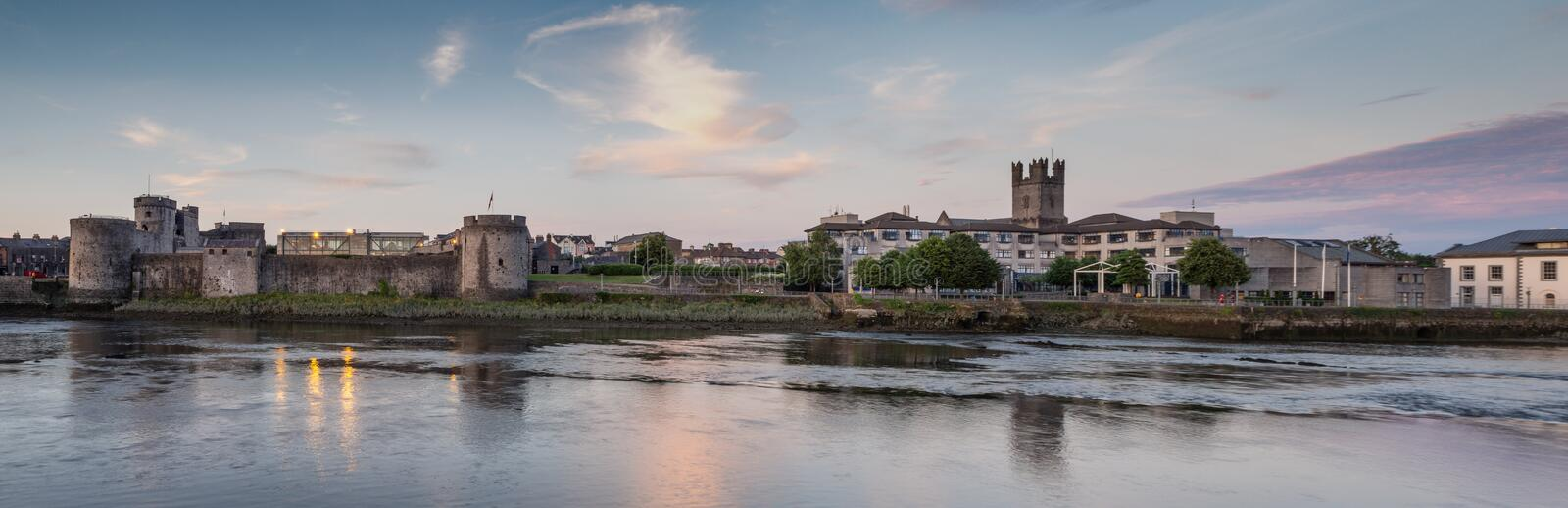 King John`s Castle Limerick. Limerick`s King Johns Castle down to the Council offices, with St Mary`s tower in the background stock image