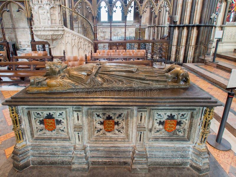 King John. WORCESTER,UK-APRIL 10 2014 : Tomb of King John of England.Buried in Worcester Cathedral.King John signed the Magna Carta stock photos