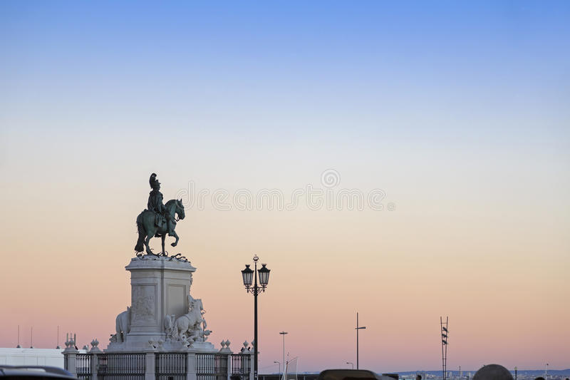 King Jose I statue near Lisbon Story Center at sunset royalty free stock images
