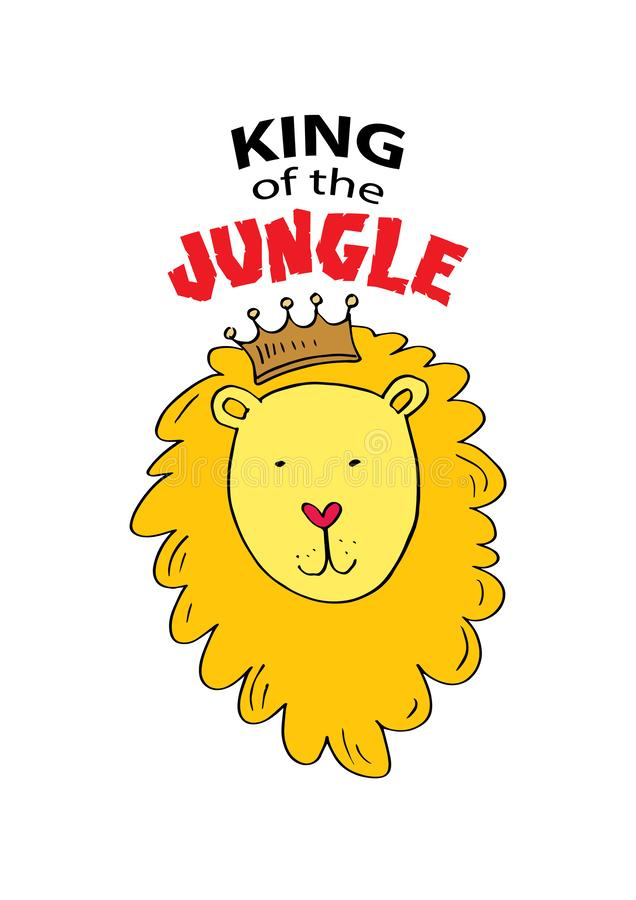 King of the jungle lettering with cute lion. For print for t-shirts, home decor, posters, cards. royalty free illustration