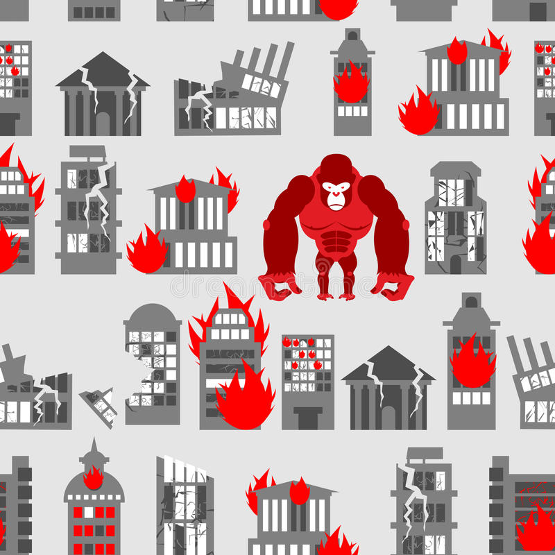 King Kong Ruined building seamless pattern. Dangerous Big Gorilla broke city. Destroyed buildings. Angry Monkey and fire in houses stock illustration