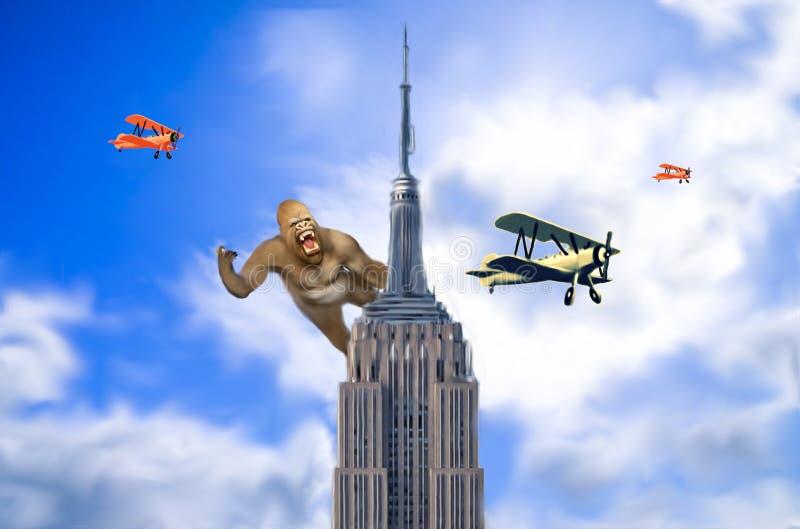 King Kong w empire state building fotografia royalty free