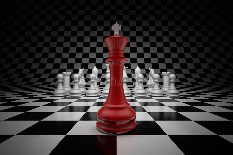 King of the leader. King of leader at the head of chess on chessboard vector illustration