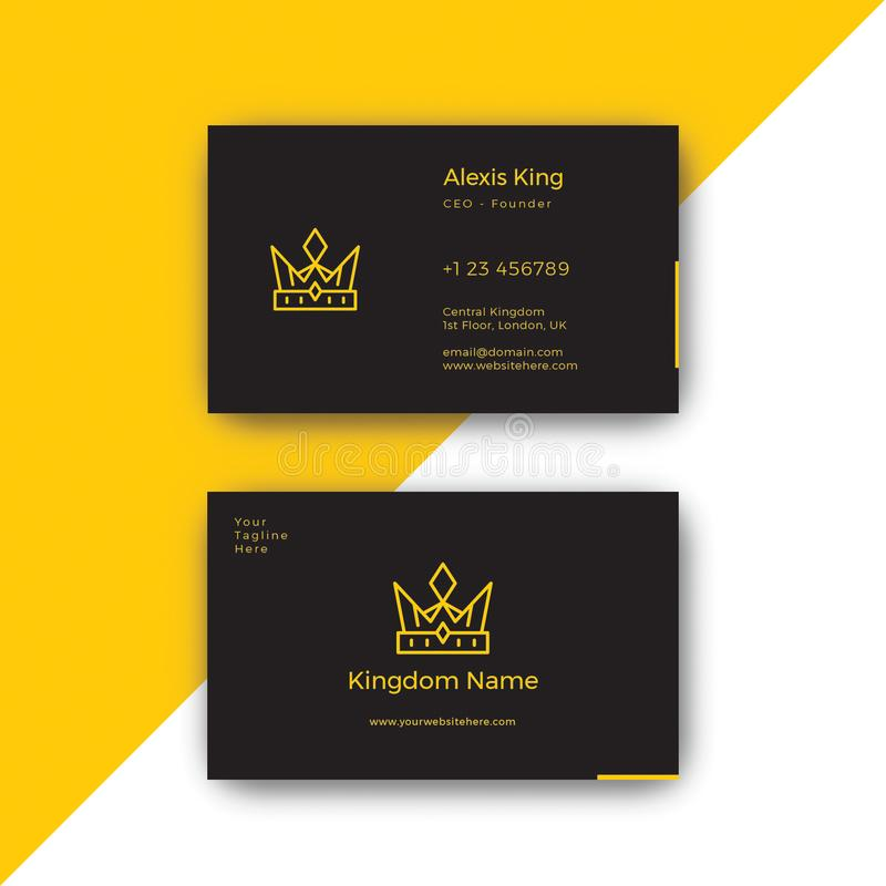 King Luxury Black Business Card Design Template Stock Vector ...