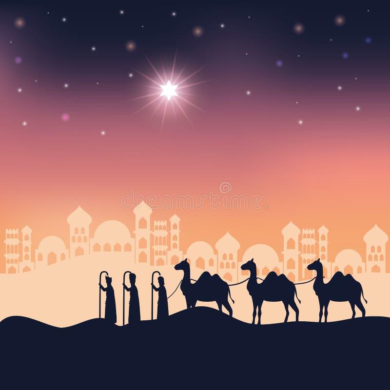 Free King Magicians In Desert Night Landscape Scene Stock Images - 162026734