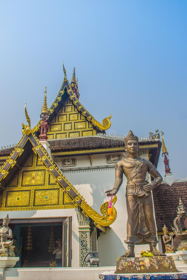 King Mangrai statue at Wat Chedi Luang in Chiang Mai, Thailand. King Mangrai, also known as Mengrai was the first king of Lanna. H stock image