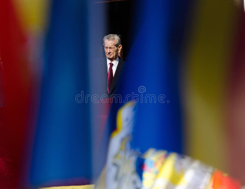 King Mihai I of Romania. Appears at the balcony of Elisabeta Palace in Bucharest, Romania, during the Open Doors Event organised by the Romanian Royal Family on