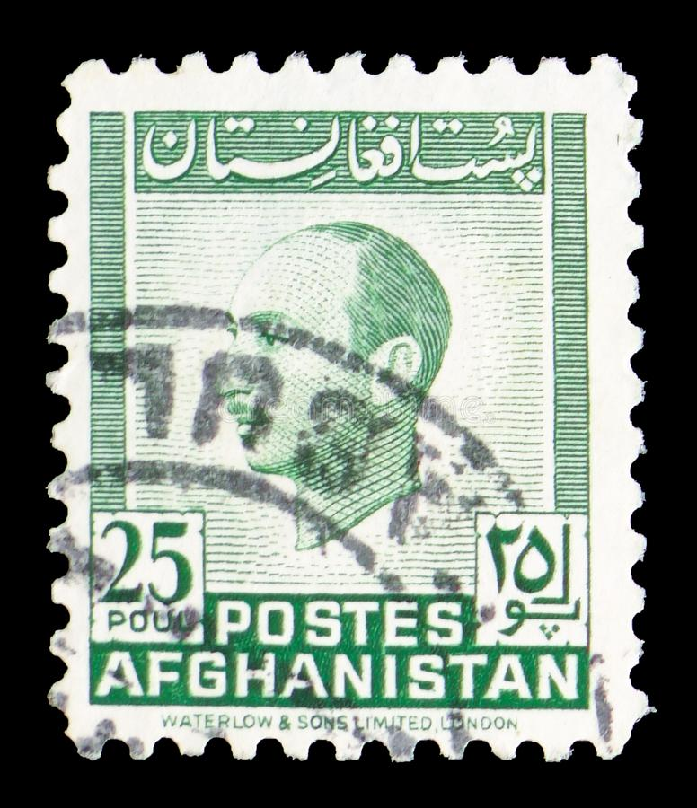 King Mohammed Zahir Shah, Monuments and King Zahir Shah definitives (I) serie, circa 1951. MOSCOW, RUSSIA - JULY 19, 2019: Postage stamp printed in Afghanistan stock images