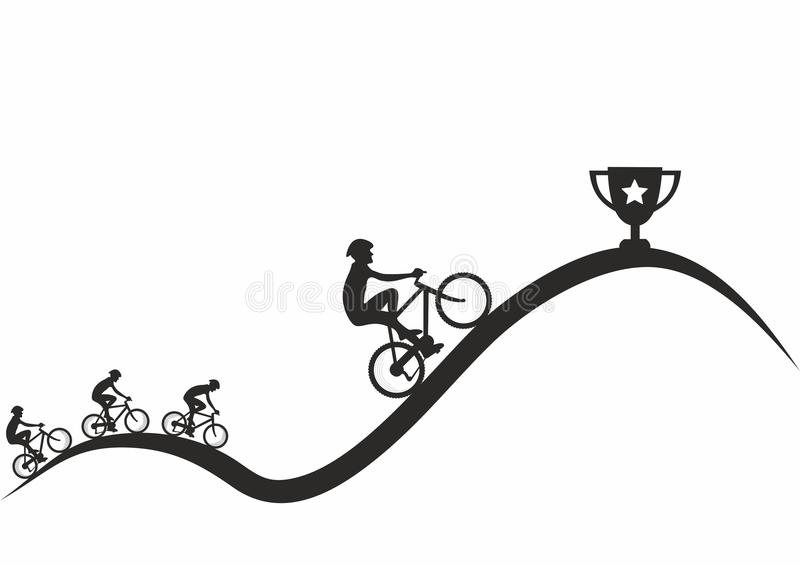King of the Mountain Competition - black and white. Black and white illustration of cyclists racing for the King of the Mountain cup vector illustration