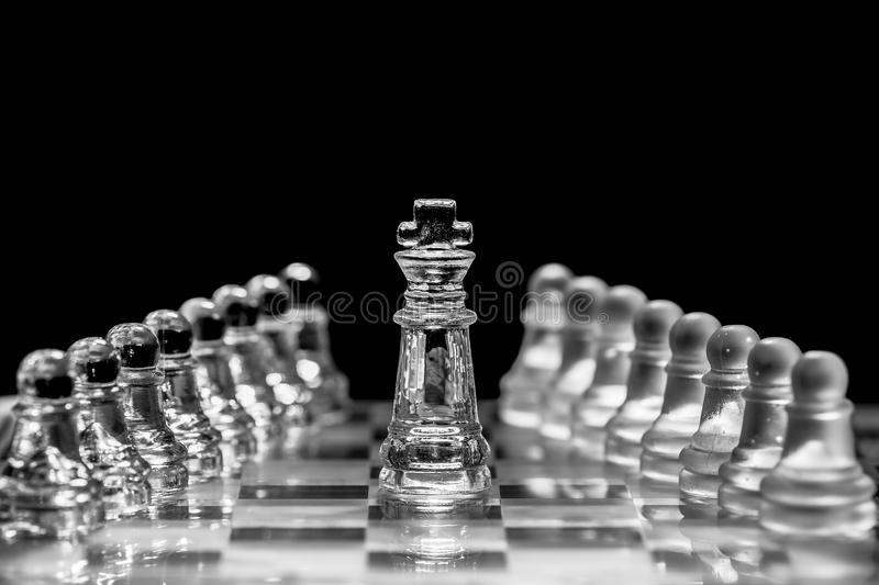 King. The king moves one square in any direction. The king has also a special move which is called castling and involves also moving a rook stock image