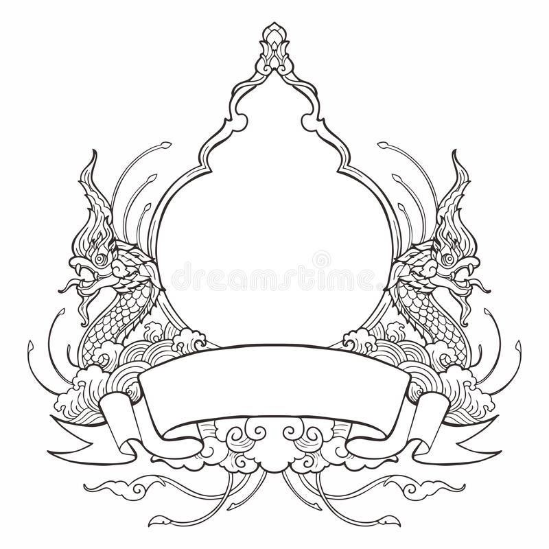 King of Nagas frame with Thai tradition ornamental style design with ribbon label. For write some wording  and decorative water wave spread cloud concept like stock illustration