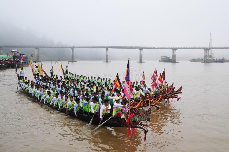 King of Nagas long boat racing festival , This event has been the pride of Tanintharyi for stock images