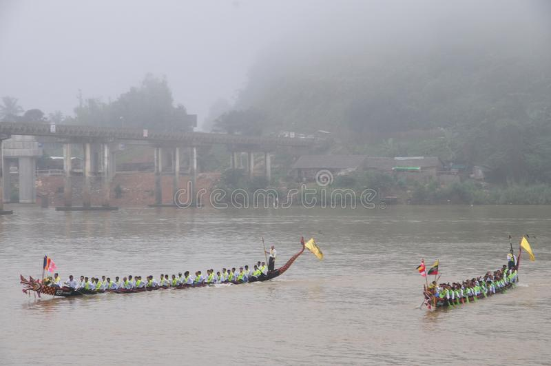 King of Nagas long boat racing festival , This event has been the pride of Tanintharyi for stock photos
