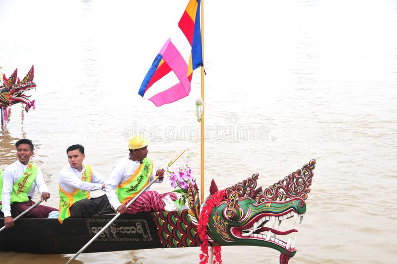 King of Nagas long boat racing festival , This event has been the pride of Tanintharyi for royalty free stock images