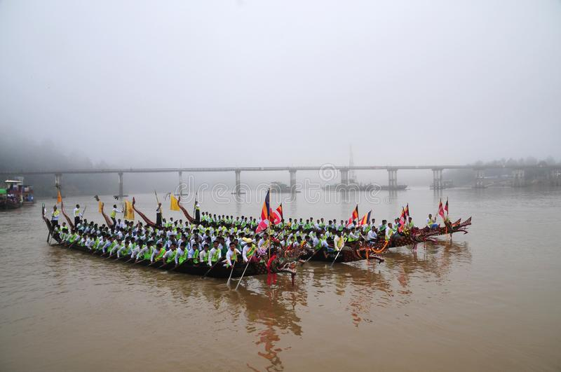 King of Nagas long boat racing festival , This event has been the pride of Tanintharyi for stock image