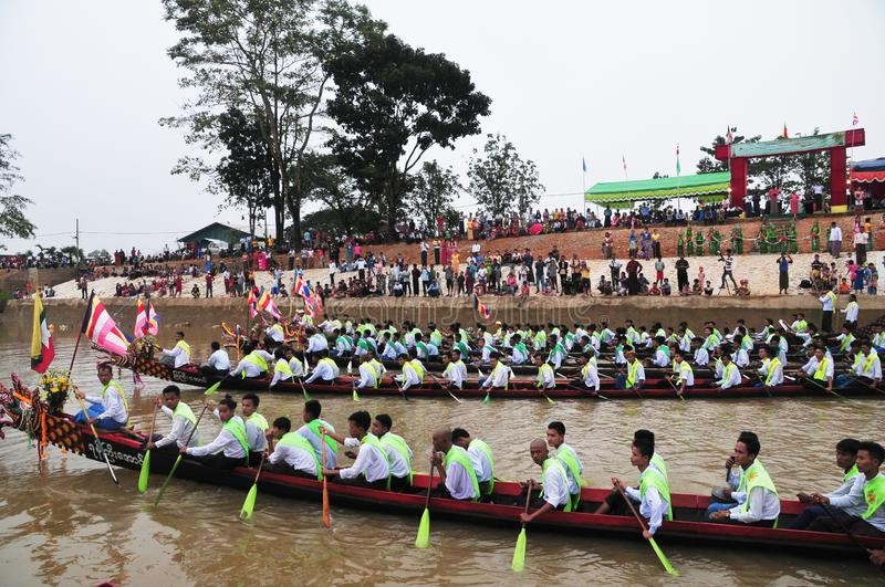 King of Nagas long boat racing festival , This event has been the pride of Tanintharyi for stock photo