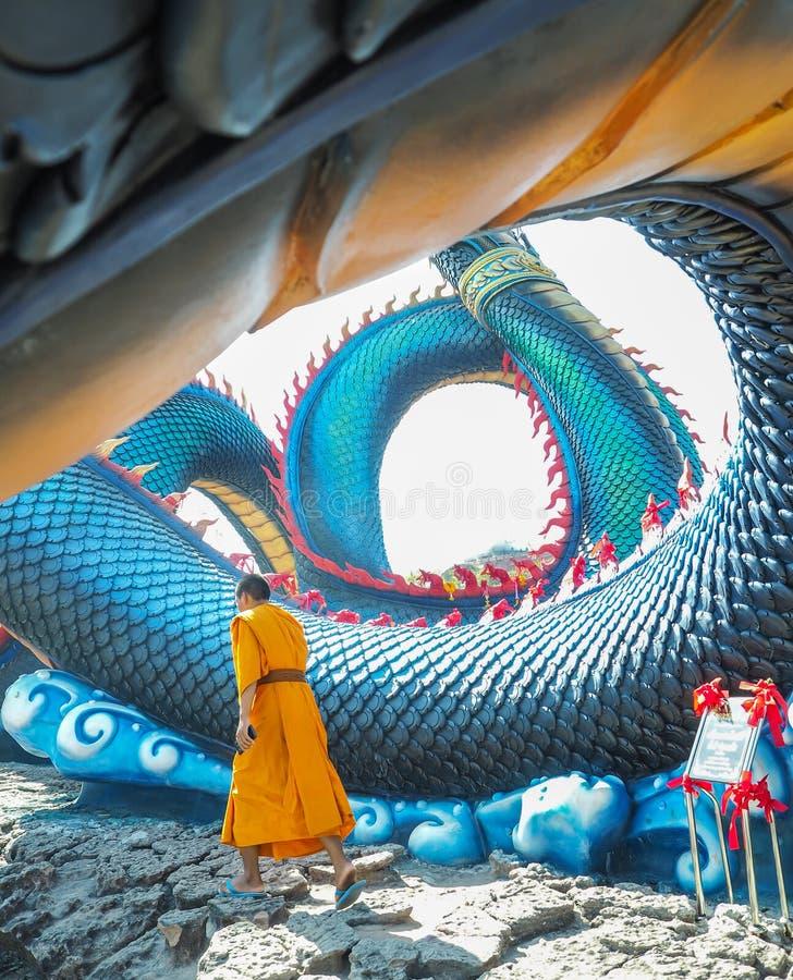 King of Nagas, Wat Roi Phra Phutthabat Phu Manorom, Thailand stock image