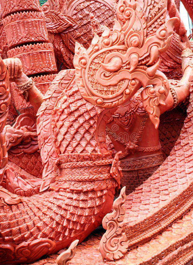 Free King Of Naga Carving Candle Festival Royalty Free Stock Photos - 26089408
