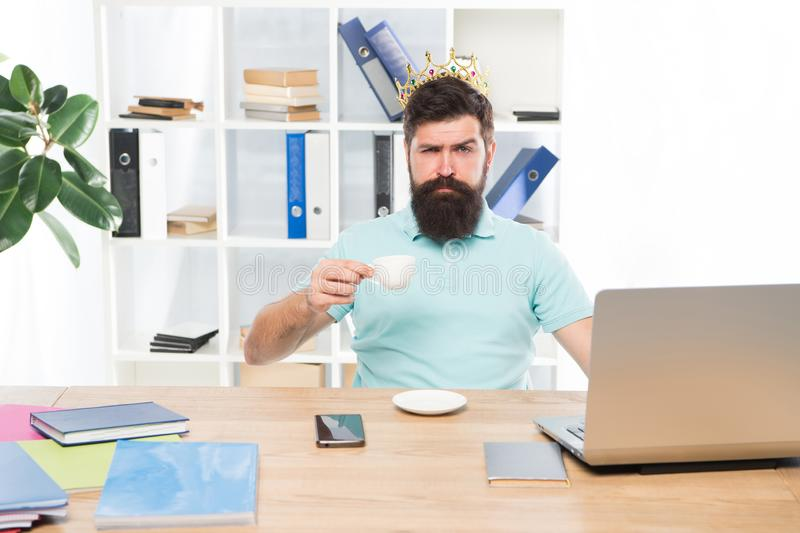 King of office. Head of department. Head office concept. Man bearded manager businessman entrepreneur wear golden crown stock images