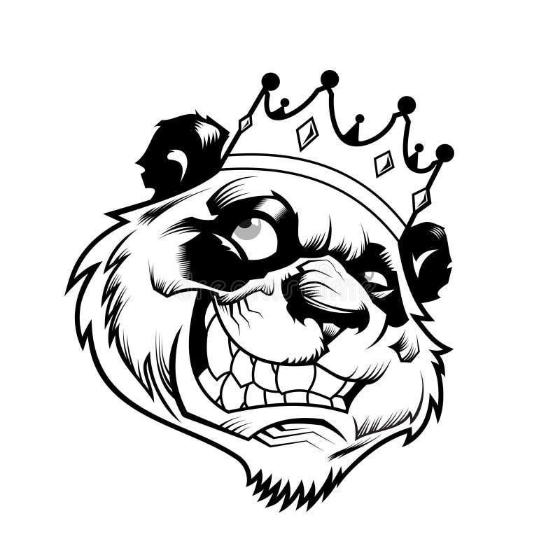 King panda head black and white. Panda head wear a king crown. illustrations stock illustration