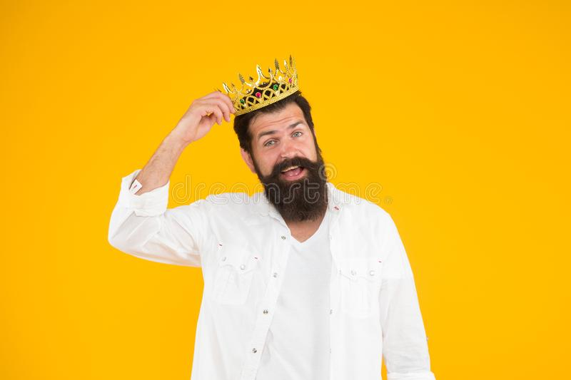 King of party. Egoist selfish man. Narcissistic person. Superiority complex. Bearded man wear white. Love yourself royalty free stock images