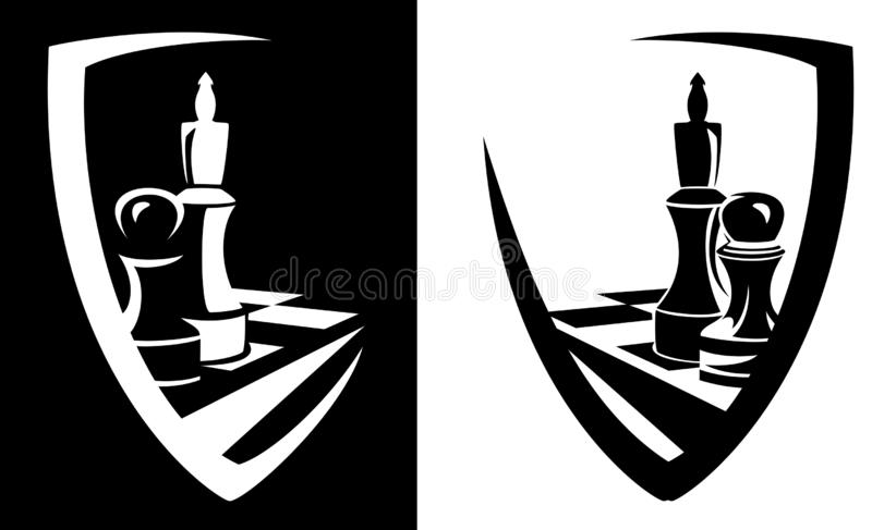 Chess game pieces heraldic shield vector emblem design. King and pawn chess pieces inside heraldic shield - sport game black and white vector emblem design royalty free illustration