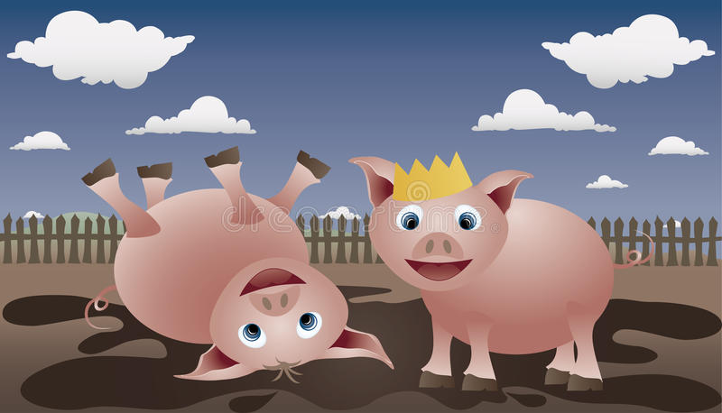 King pig. Two pigs play in the mud. Piglet is the king of dirt stock illustration