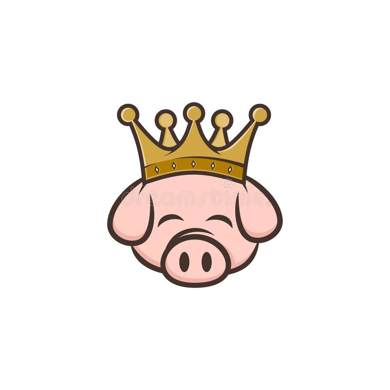 king pig crown pork bacon theme cartoon stock illustration