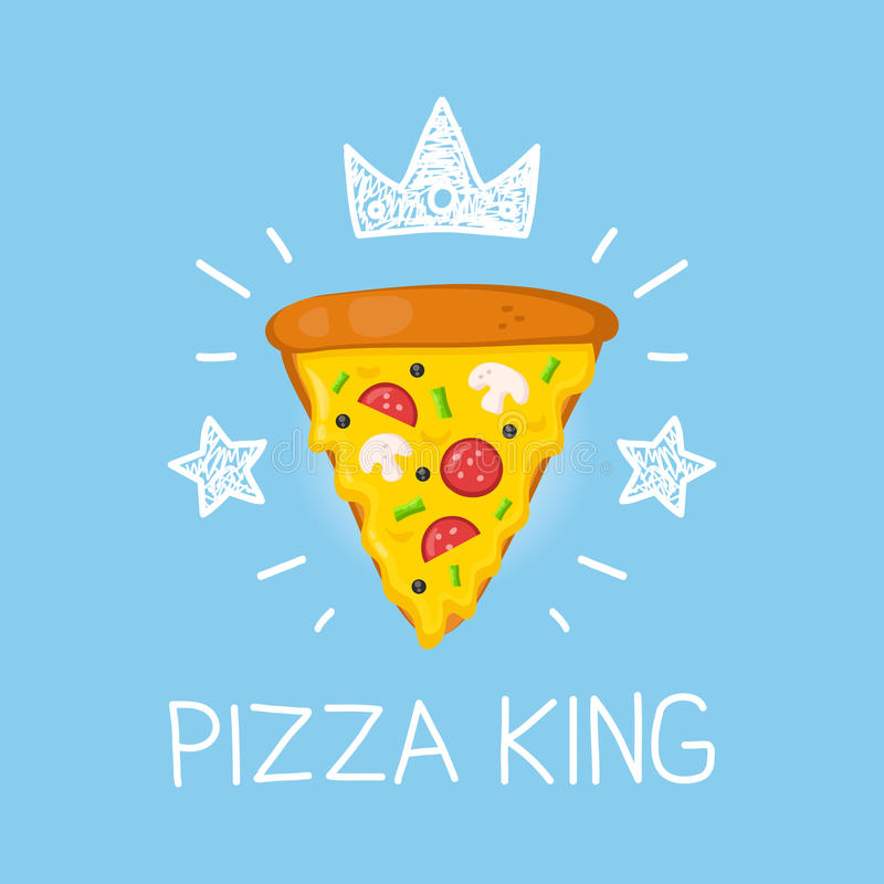 King pizza vector cartoon flat and doodle illustration. Crown and stars icon stock illustration
