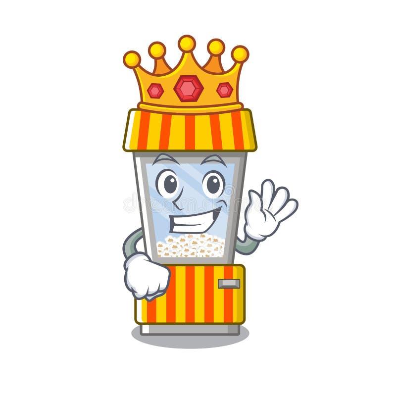 King popcorn vending machine in mascot shape. Vector illustration vector illustration
