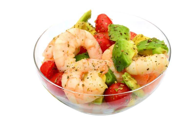 King prawns and avocado salad stock images