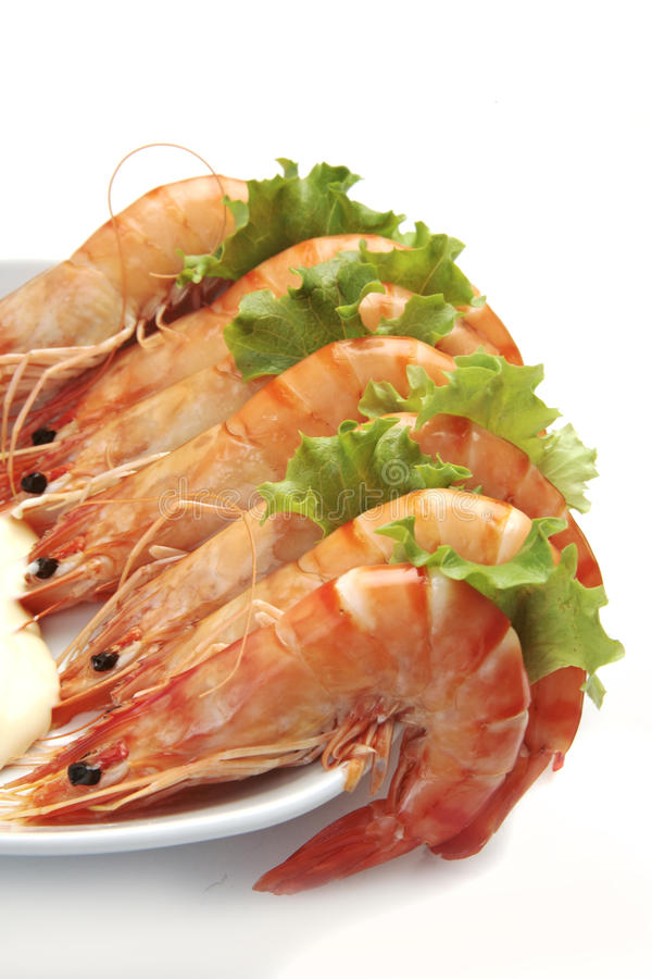King prawns and lettuce stock photo