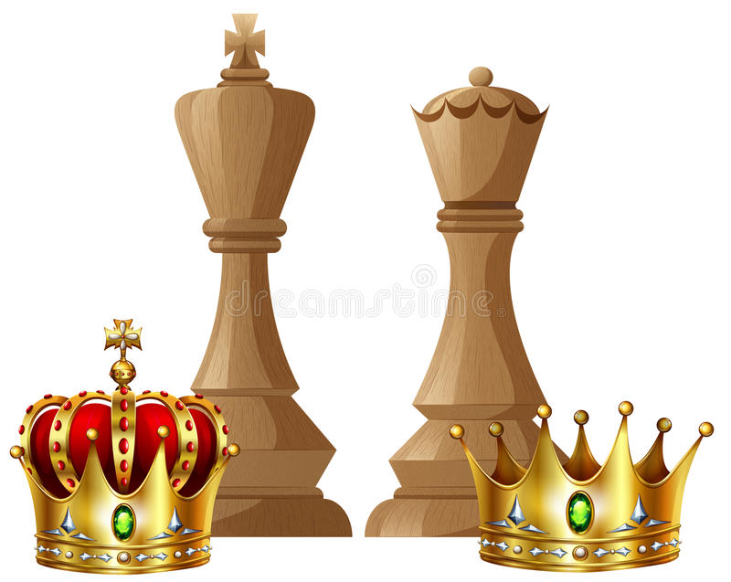 King And Queen Pieces Of Chess Game Stock Vector - Image ...