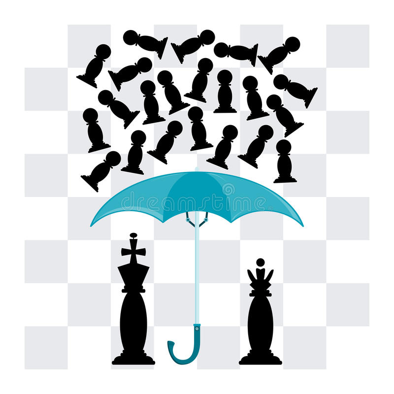 The king and the Queen under an umbrella royalty free illustration