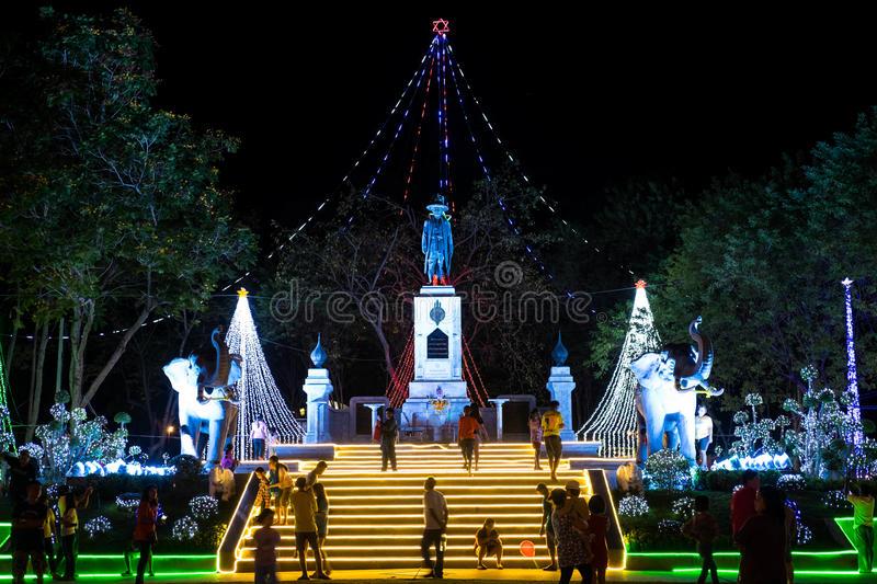 King Rama 1 Monument with light up decoration for King Bhumibol Adulyadej cerebration. Ratchaburi, Thailand - December 7, 2015- King Rama 1 Monument with light royalty free stock photos