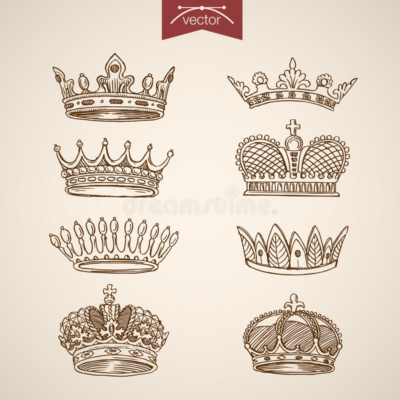 King royal crown icon set engraving lineart retro vintage vector royalty free illustration