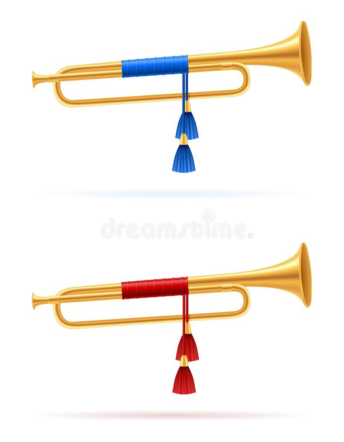 King royal golden horn trumpet vector illustration. Isolated on white background stock illustration