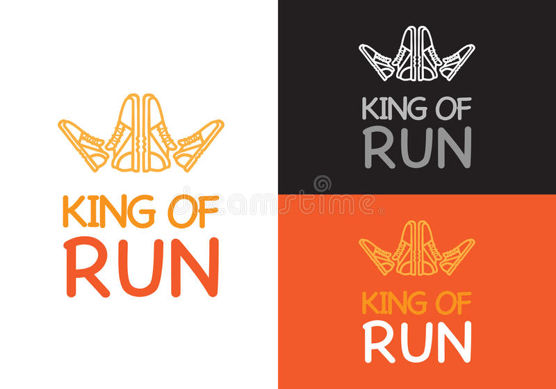 King of Run on Different Background. Fitness. King of run on different background white, orange and black. Fitness keeps fit logo. Sneakers make crown for king stock illustration