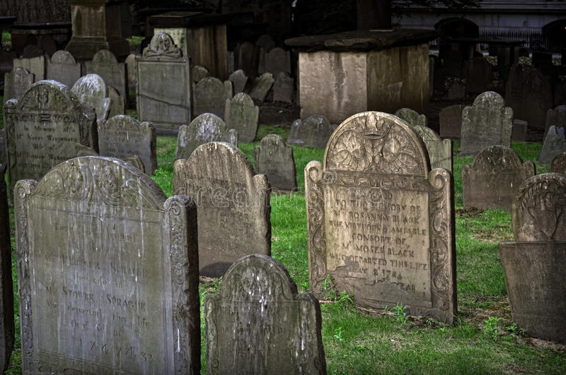 King's Chapel Burial Grounds, Boston, MA. King's Chapel Burying Ground is a historic cemetery at King's Chapel on Tremont Street in Boston, Massachusetts. Close royalty free stock photos