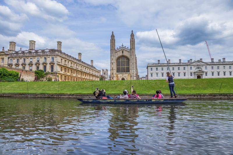 King`s College and King`s College Chapel, late Perpendicular Gothic English architecture, Cambridge, England stock photography