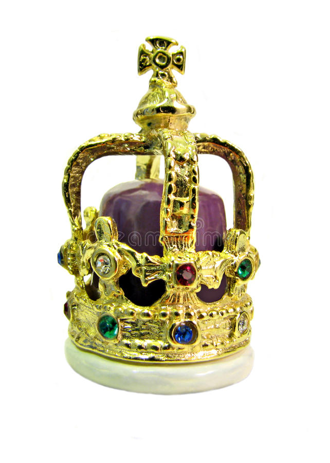 King's coronation gold crown. Photo of an ornate jewel encrusted king's coronation golden crown stock photography