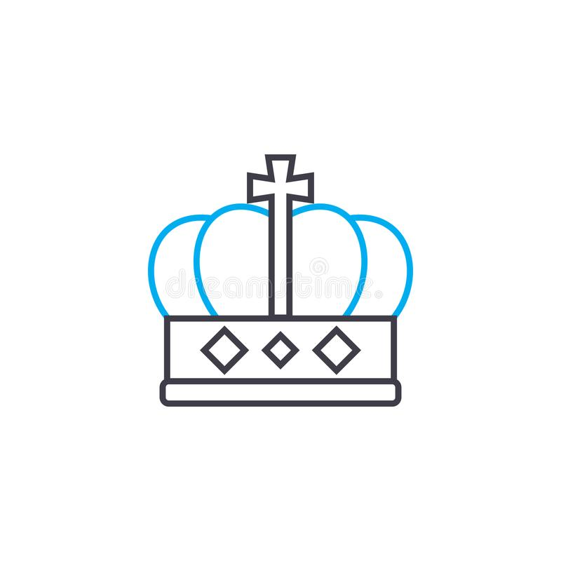 King`s crown linear icon concept. King`s crown line vector sign, symbol, illustration. King`s crown line icon, vector illustration. King`s crown linear concept royalty free illustration