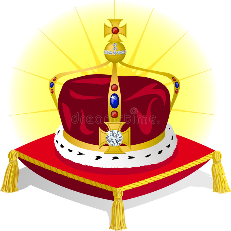 King's Crown on Pillow/eps. Illustration of a royal crown fit for a king or prince, on a red pillow