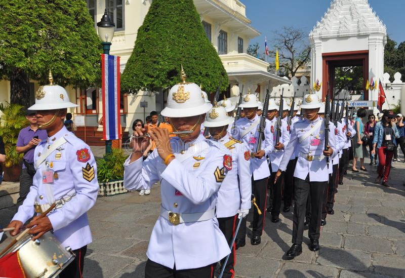 The King's Guards and Marching Band, Bangkok stock photo