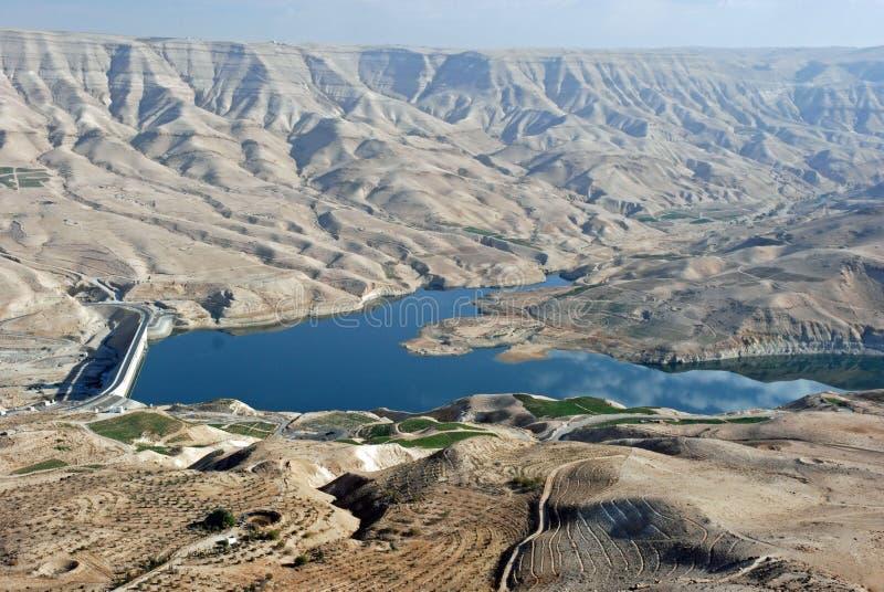 King's Highway, Wadi Mujib, Reservoir, Jordan. Wadi Mujib, Landscape with water reservoir on the Kings Highway, Jordan royalty free stock photos