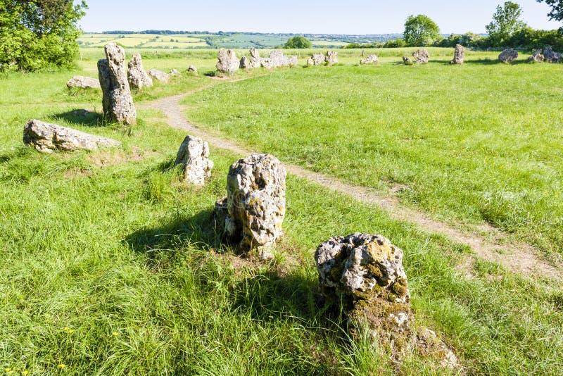 King& x27; & x27; s mężczyzn kamienia okrąg, Oxfordshire, Anglia zdjęcie royalty free