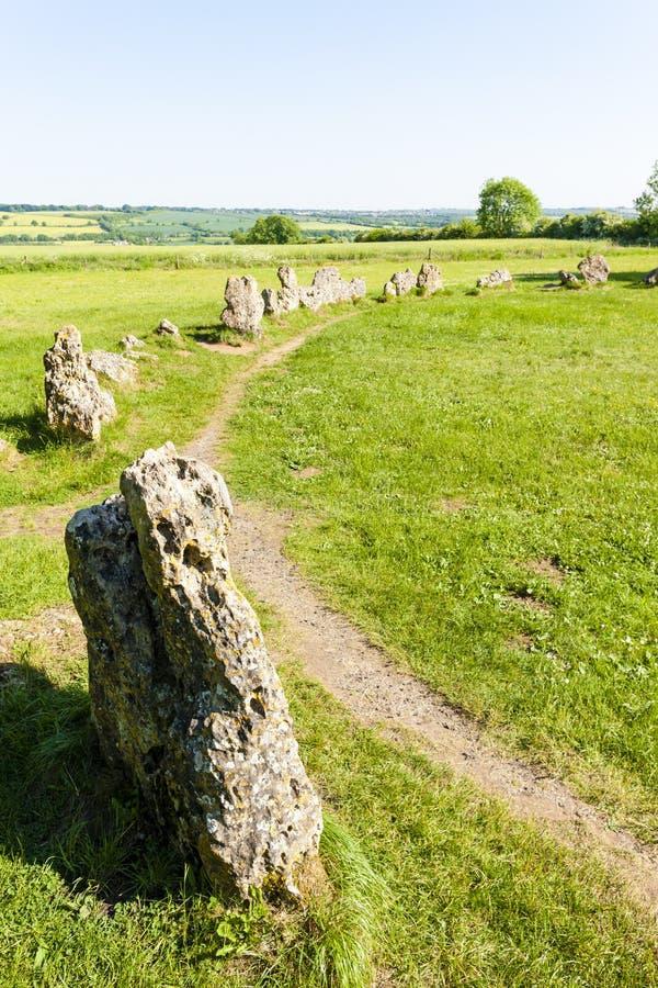 King& x27; & x27; s mężczyzn kamienia okrąg, Oxfordshire, Anglia fotografia stock